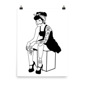 'Rockabilly Girl' Prosthetic Leg Pinup Print