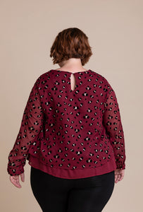 'Camille' Plus-Size Top in Red Wine