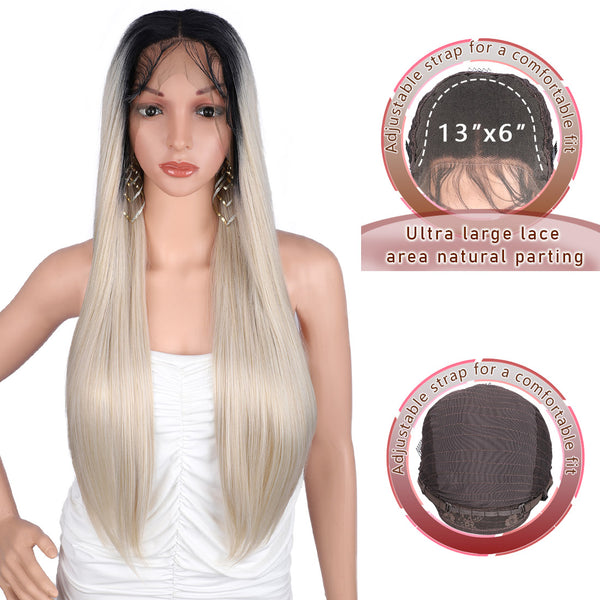 Kalyss 13X6 Swiss Lace Front Wigs for White Women Free Parting Long Straight Heat Resistant Synthetic Lace Wigs with Baby Hair