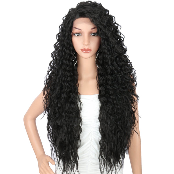 "Kalyss 4x4"" Lace Front Free Parting Wigs 28"" Long Curly Wavy Wig"