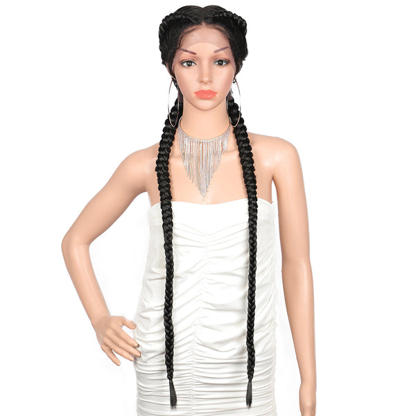 "Kalyss 36"" Dutch Twins Braided Wigs Swiss Lace Front  Middle Part Twist Braids Wig"