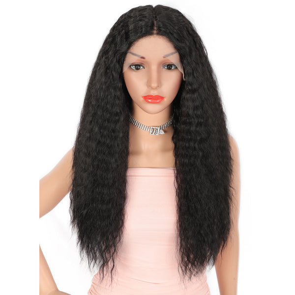 Kalyss 20 Inches Deep Middle Parted Synthetic Wigs for Women with Baby Hair medium Curly Wavy Heat Resistant Lace Front Wigs