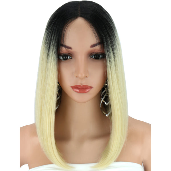 Kalyss Medium Hair Wigs Yaki Straight Synthetic Lace Front Wig for Black Women Middle Part Ombre 613 Blonde Bob Lace Front Wigs