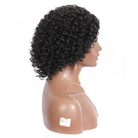 Kaylss 12 Inches Synthetic Kinky Curly Black Colored L Part Lace Front Wigs For Women Fiber Middle Part Short Bob Hair Wig