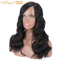 Kalyss Synthetic Swiss Soft Lace Front Wigs Curved C Parting Body Wavy Curly Black Brown Highlights Frontal Lace Wigs for Women