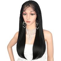 "Kalyss 13X5"" Braided Lace Front Braided Wigs For Women With Baby Hair Cornrow Lightweight Pre Box Braided Synthetic Hair Wigs"