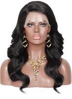Kalyss 5 Inches Deep Side Parted Synthetic Wigs for Black Women with Baby Hair Long Curly Wavy Heat Resistant Lace Front Wigs