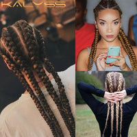 Kalyss 26 Inch Hand Braided Synthetic Lace Front Cornrow Wigs 4 Ponytails Soft Lace Frontal Twist Braided Wigs with Baby Hair