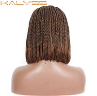 Kalyss 11 Inch Clear Lace Front Braided Wigs Brown BoB 4x4 Lace Synthetic Box Braids Wig with Baby Hair for Black Women