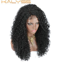 Kalyss 20 Inch Synthetic Lace Front Wigs for Black Women Deep Curly Wave Lace Frontal Wig Afro Kinky Curly Side Part Wig