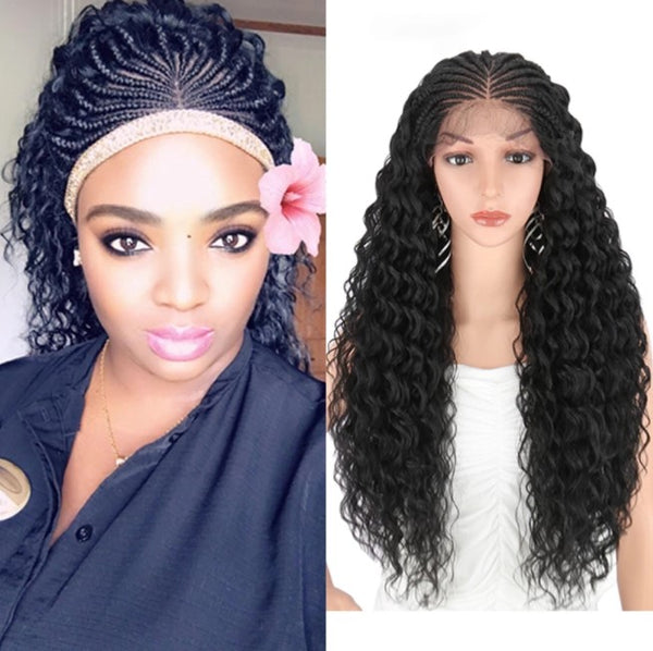 Kalyss 28 Inch Hand Braided Wigs for Black Women Synthetic Lace Front Wig with Baby Hair Curly Wavy for Cosplay wig Women Wigs