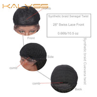 "Kalyss 28 ""Swiss Lace Front Senegal Twist Braided Wigs with Baby Hair for Black Women Black Cuevana Twist Braids Wigs"