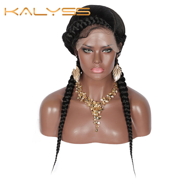 "Kalyss 24 ""Braided with Baby Hair for Women No split ends Black Braided Wig 4.7"