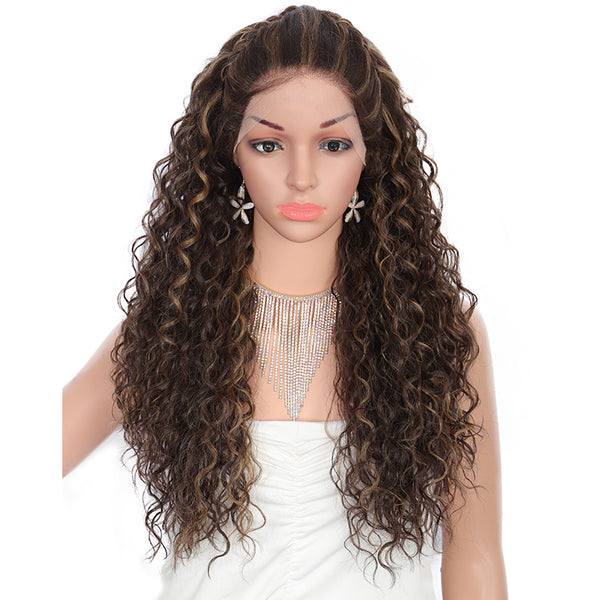 Kalyss 26 Inches Synthetic Curly Wig with Baby Hair for White Women Lace U Part Side Parts Pre-Braided Swiss Lace Front Wigs