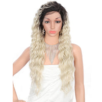 "28 inch Brown Curly Lace Front Wigs For Women With Baby Hair 4"" Deep Side Parted Heat Resistant Japan-made Synthetic Hair Wigs"