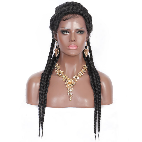 Kalyss 25 Inches Cornrow Braids 360 Swiss Lace Front Wigs Double Dutch Hand Box Braided Synthetic Lace Wigs for Black Women
