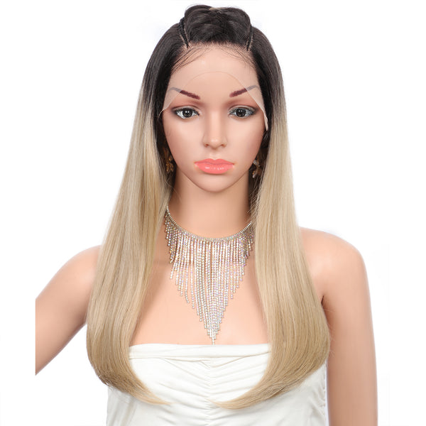 Kalyss 20 Inch Ombre Blonde Synthetic Lace Front Wig For White Women With Baby Hair Pre-Braided Box Wigs Straight U Shape Wigs