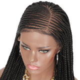 "Kalyss 28""13X7-inch Swiss Lace Cornrow Weave Wig on the front, suitable for black women"