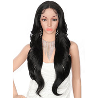 29 Inch Blonde Long Synthetic Wigs with Baby Hair for Women Deep 5 '' Lace Part Middle Parted Japan-made Swiss Lace Front Wigs