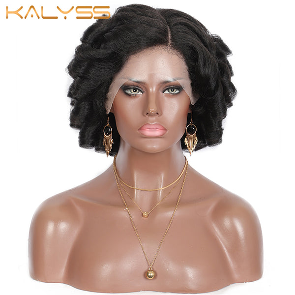Kalyss 12 inches Short Bob Curly Wigs handmade braided Natural Synthetic Hair Wig for Black Women Afro Lace Frontal Wigs