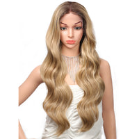 Kalyss 28Inches Ombre Long Golden Synthetic Wig Wavy Hair for White Women with Baby Hairs Curly Body Wavy Swiss Lace Front Wigs