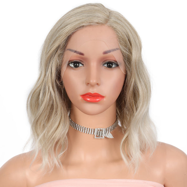 Kalyss Synthetic Lace Front Wig ICE BLONDE Colored L part Lace Wigs For Women Heat Resistant Fiber Side Part Short Bob Hair Wig