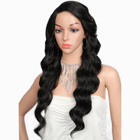 Kalyss 24 inches Synthetic Hair Lace Wig For Women Long Body Ocean Waves Wavy Heat Resistant Side Parted Swiss Lace Front Wigs