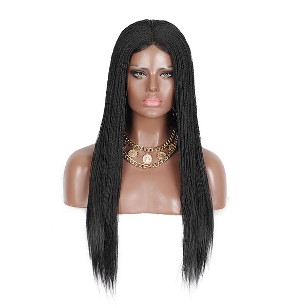 Kalyss 28 Inches Braided Wigs with Baby Hair Long Straight Hair Synthetic 4X4 Lace Parting Hand Lace Front Wigs For Black Women