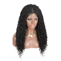 Kalyss 18 Inch Synthetic Twist Crochet Braids Hair with Baby Hair for Black Women Middle Parting Heat Resistant Lace Front Wigs