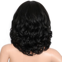 Kalyss 14 Inch Synthetic Hair with Natural Baby Hair Short Wave Curly for Women Middle Parting Soft Swiss Lace Front Wigs