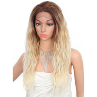 Kalyss 24 inches Swiss Lace Front Wigs with Baby Hair for Women Wave Japan Made Middle Parted Frontal Synthetic Hair Curly Wigs