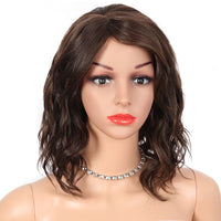 Kalyss 12 Inch Synthetic Hair Wigs for Black Women with Baby Hair Bangs Side Parting Heat Resistant Short Curly Wavy Swiss Pointed Wigs