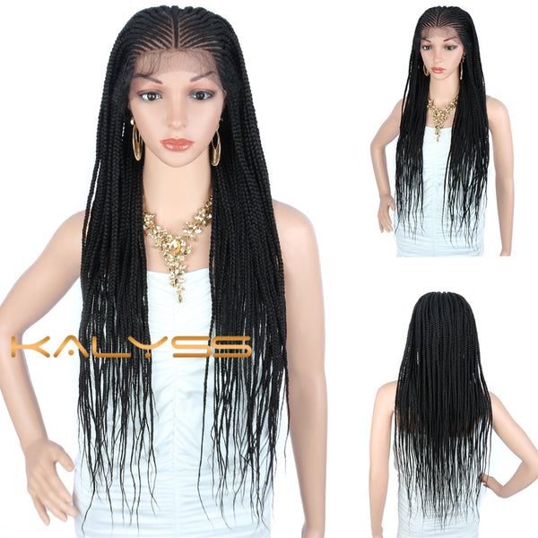 "Kalyss 30"" Lightweight Cornrow Braided Wigs 13X6 Lace Front Box Braids Wig"