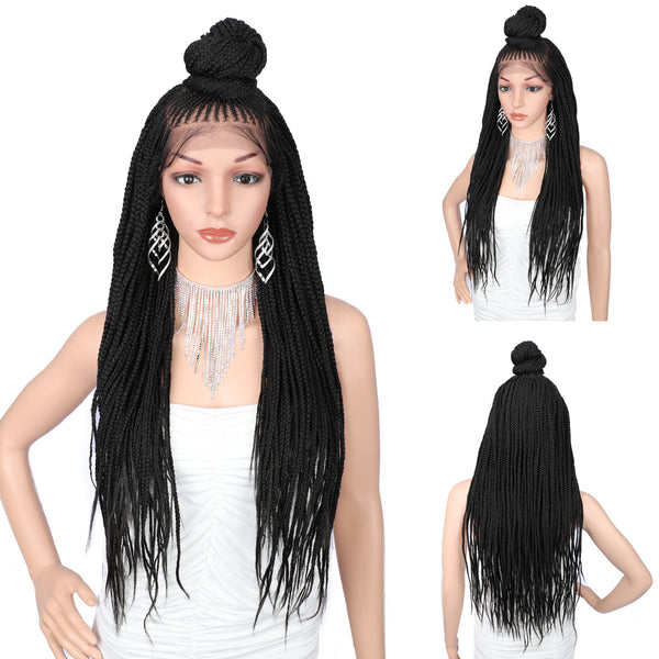 "13X7"" Swiss Lace Front Updo Twist Braided Wigs Cornrow Box Braids"