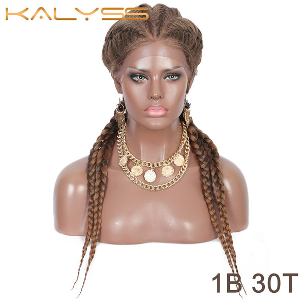 Kalyss 26 Inch Hand Braided Synthetic Lace Front Corn Row Wigs 4 Ponytails Soft Lace Frontal Twist Braided Wigs with Baby Hair