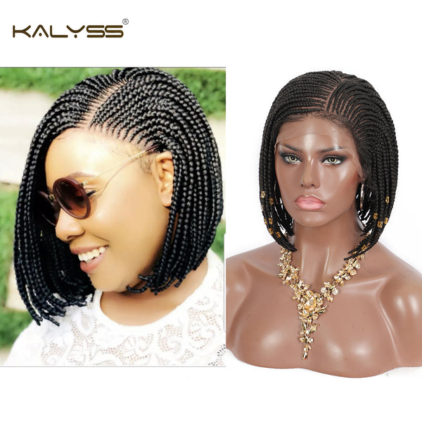 "Kalyss 10""  Lemonade Cornrow Braided Wigs 13x7 Lace Frontal Short Bob Box Braids Wigs"