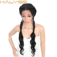 Kalyss 28 Inch Lace Front Dutch Twins Braided Wigs with Baby Hair for Women Synthetic Twist Braids Wigs with Curly Wavy Ends