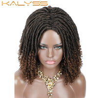 Kaylss 14 Inches Short Goddess Loks Wig Faux Loks Braided Wig for Black Women Synthetic Hair 4x4 Lace Closure 1B Ombre T30