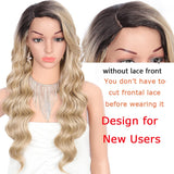 Kalyss 24 Inches Synthetic Wigs for Women Long Body Ocean Waves Side Parted Ombre Blonde Heat Resistant Swiss Lace Front Wigs