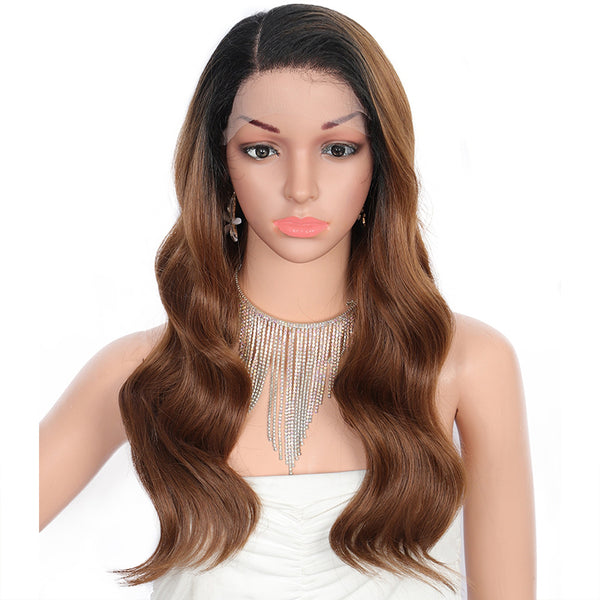 Kalyss 24 Inches Long Wavy Ombre Brown Synthetic Wig for Women with Baby Hair Heat Resistant Side Parted Swiss Lace Front Wigs