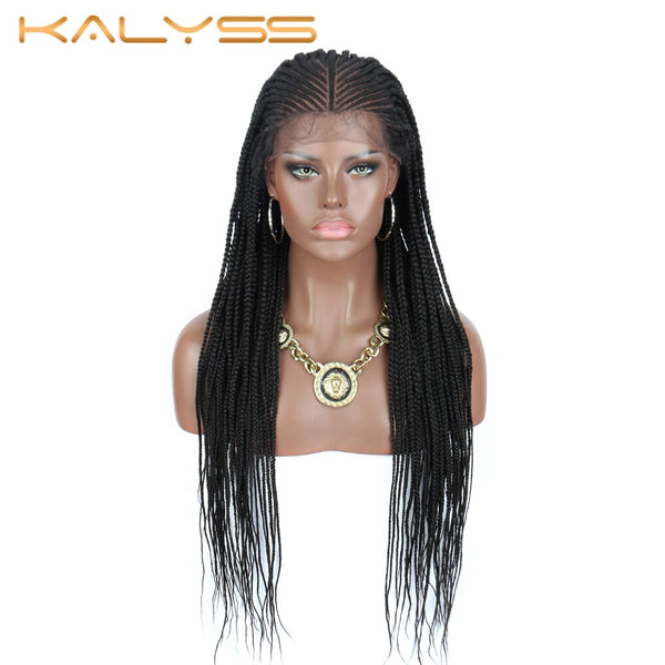 Kalyss 30 Inch Cornrow Braided Wigs for Black Women Synthetic Lace Front Black Box Braids Wig with Baby Hair 13X6 Big Lace