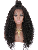 Kalyss 22 Inch Synthetic Lace Front Wigs for Black Women Natural Black Curly Wavy Heat Resistant Frontal Wig with Baby Hair