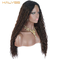 Kalyss 28 Inch Blonde Synthetic Lace Front Wigs for Black Women Long Curly Wavy Blonde Highlights Middle Part Wig Baby Hair