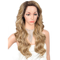 Kalyss 24 Inches Synthetic Ombre Blonde Long Big Wavy Curly Glueless Wig For White Women Japan Made Side Parted Lace Front Wigs