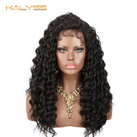 Kalyss 22 Inch Synthetic Lace Front Wigs for Black Women Black Water Wave Curly Wigs Heat Resistant Frontal Wig with Baby Hair