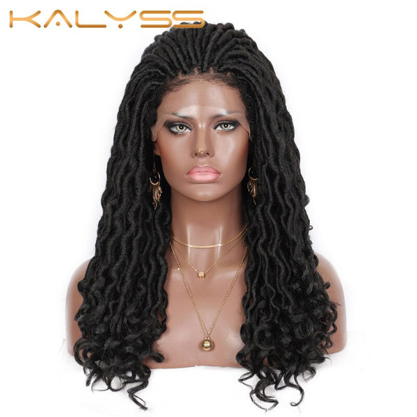 Kalyss 22 Inch Jumbo Faux Loks Braids Wig with Curly Loose Ends Goddess Lace Front Wig Black Synthetic Wavy Braiding Wigs