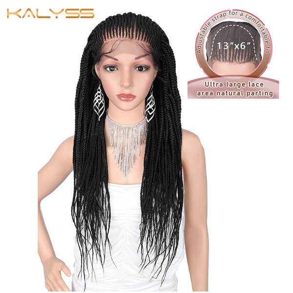 Kalyss 29 Inch 13x6 Hand Braided Wigs Synthetic Lace Front Wig for Black Women Natural Black Box Braids wig with Baby Hair