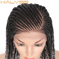 Kalyss 31 inch Synthetic Cornrow Braided Wigs 13X6 Lace Frontal Wigs with Baby Hair for Black Women Side Parting Box Braids Wigs