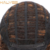 Kalyss 15 Inch Short Synthetic Wigs for Black Women Kinky Curly L Wigs with Baby Hair Middle Part Hair Black wigs