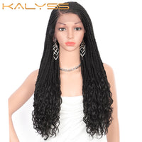 Kalyss 24 Inch 13X5 Lace Frontal Goddess Box Braids Wigs with Wavy Curly Ends Side Parted Synthetic Swiss Lace Front Wigs